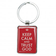 Keep Calm and Trust God Metal Keyring