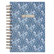 Be Still Blue Paisley Large Wirebound Journal - Psalm 46:10