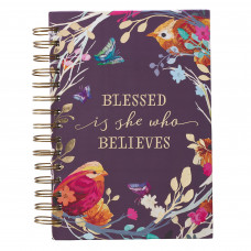 Blessed Is She Large Wirebound Journal in Aubergine