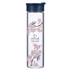 It Is Well Glass Water Bottle in Royal Blue