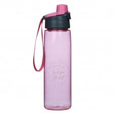 Grateful Heart Plastic Water Bottle in Pink