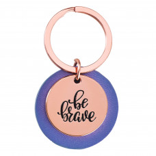 Be Brave Rose Gold Keyring with Lavender Disc