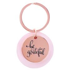 Be Grateful Rose Gold Keyring with Pink Disc
