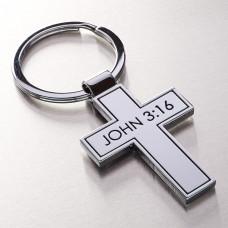 Metal Cross - John 3:16 Keyring