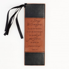Strong and Courageous Black/Tan Bookmark - Joshua 1:9