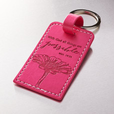 All Things are Possible Pink Faux Leather  Keyring - Matthew 19:26