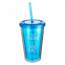 Good Teacher Blue Insulated Plastic Tumbler - 1 Corinthians 16:14