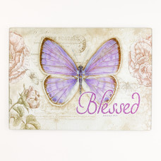 Butterfly Blessings Large Glass Cutting Board