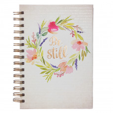 Be Still Watercolor Wreath Hardcover Large Wirebound Journal - Psalm 46:10