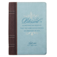 Blessed Zippered Classic LuxLeather Journal - Luke 1:45