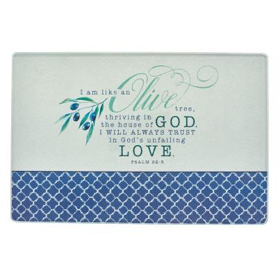 Olive Branch Medium Glass Cutting Board - Psalm 52:8
