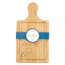Bamboo Cutting Board with Handle: Bless the Food Before Us