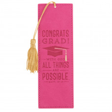 Graduation Faux Leather Bookmark - Matthew 19:26