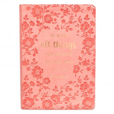 All Things Classic Faux Leather Journal in Coral - Romans 8:28