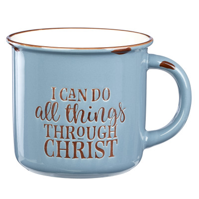 I Can Do All Things Through Christ Blue Camp Style Coffee Mug - Philippians 4:13