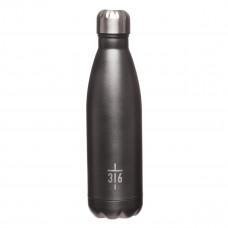 Cross Black Stainless Steel Water Bottle - John 3:16