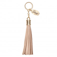 Leather Tassel Believe Keyring in Beige