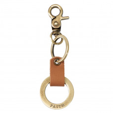 Faith Stamped Keyring with Tan Genuine Leather Loop