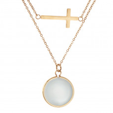 Double Strand Cross And Moonstone Necklace