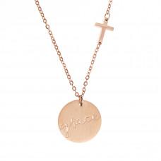 Grace Cross Disc Necklace