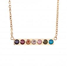 Salvation Cubic Zirconia Bar Chain Necklace