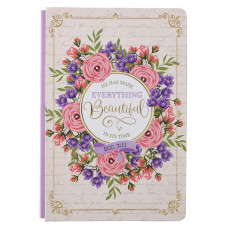 Beautiful In It's Time  Quarter-Bound Hardcover Journal in White - Ecclesiastes 3:11