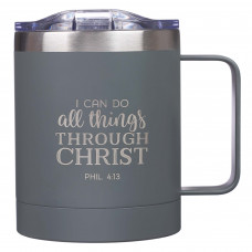I Can Do All Things Camp Grey Style Stainless Steel Mug - Philippians 3:14