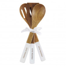 Give Thanks in Everything Acacia Wood Spoon Set in White - 1 Thessalonians 5:18