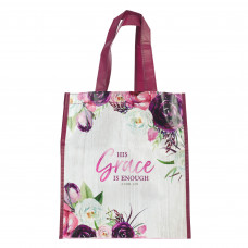 His Grace is Enough Non-Woven Tote Bag in Pink Plums - 2 Corinthians 12:9