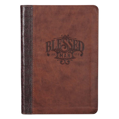 Blessed Man Brown Faux Leather Journal with Zipped Closure - Jeremiah 17:7