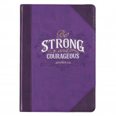 Be Strong & Courageous Purple Quarter-bound Faux Leather Classic Journal - Joshua 1:9