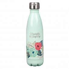 Strength & Dignity Mint Floral Stainless Steel Water Bottle - Proverbs 31:25
