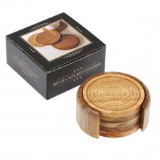 Four-piece Assorted Design Acacia Wood Coaster Set