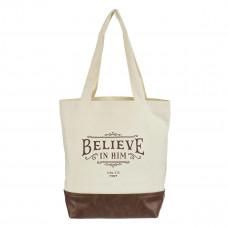 Believe in Him Canvas Tote Bag - John 3:16
