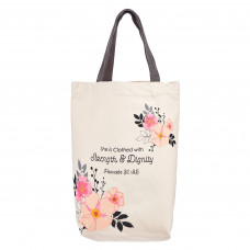 Strength & Dignity Canvas Tote Bag – Proverbs 31:25