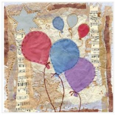 3 Balloons Small Greetings Card