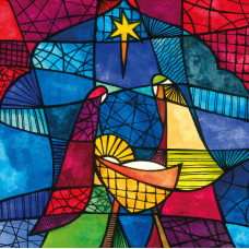 Compassion Charity Christmas Cards - Stained Glass Nativity (Pack of 10)