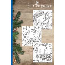Compassion Christmas Charity Colouring Card Pack (18 Cards)