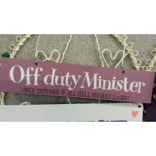 Off Duty Minister Plaque