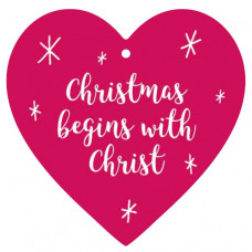 Christmas Begins With Christ Hanging Heart