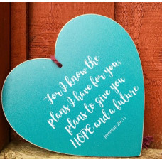 For I Know The Plans Teal Hanging Heart Decoration