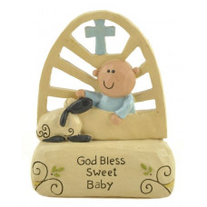 God Bless Sweet Baby Ornament Blue