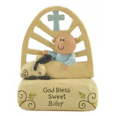 God Bless Sweet Baby Ornament Blue