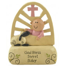 God Bless Sweet Baby Ornament Pink