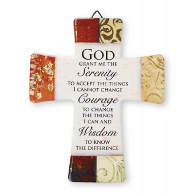 Porcelain Cross Serenity Prayer