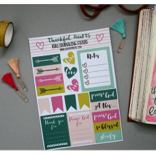 Bible Journaling Stickers - Thankful Hearts
