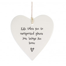 Life Takes You to Unexpected Places Porcelain Hanging Heart