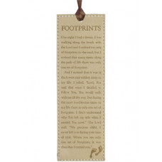 Footprints Lux Leather Bookmark