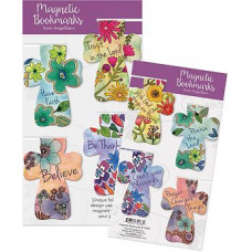 Cross Shaped Magnetic Bookmarks - Floral