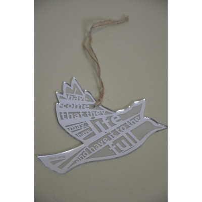 Life to the Full Silver Hanging Bird